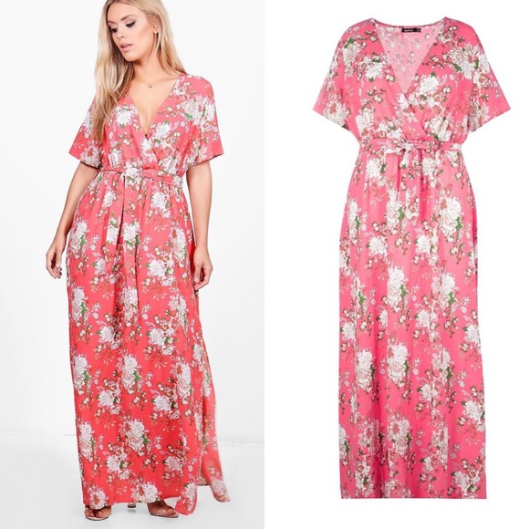 4880e4c89fe5 Boohoo Dresses | Floral Wrap Maxi Dress Coral | Poshmark